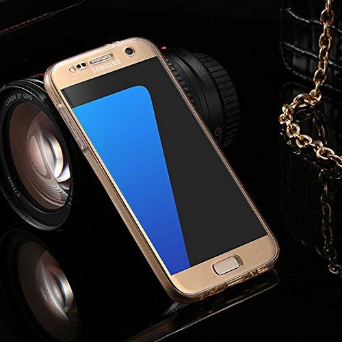 Funda tapa trasera para Samsung Galaxy S7, Vandot Funda 360 Doble Delantera + Trasera Transparente Silicona Gel Integral para Galaxy S7, Two Cristal Crystal Centelleo Cover Funda Caja del TPU Silicona QBTPU 03
