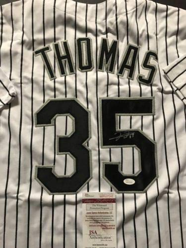 Autographed/Signed Frank Thomas Chicago White Sox Pinstripe Baseball Jersey JSA ()
