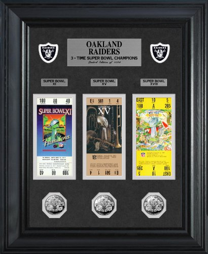 NFL Oakland Raiders Super Bowl Ticket & Game Coin Collection Framed, Silver, 32'' x 27'' x 4'' by The Highland Mint