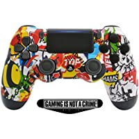 Soft Touch Sticker Bomb Ps4 PRO Rapid Fire Custom Modded Controller 40 Mods for All Major Shooter Games, Auto Aim, Quick Scope Sniper Breath & More with Custom Lightbar (CUH-ZCT2U)