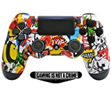'Soft Touch Sticker Bomb' Ps4 PRO Rapid Fire Custom Modded Controller 40 Mods for All Major Shooter Games, Auto Aim, Quick Scope Sniper Breath & More with Custom Lightbar (CUH-ZCT2U)