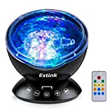 LED Ocean Wave Night Light Projector With 7 Colors Light Show Projection Built-in Soft Music Player Remote Control Fit for Indoor Kids Bedroom Party Dating Mood, Best Gift for Home Decor, Black
