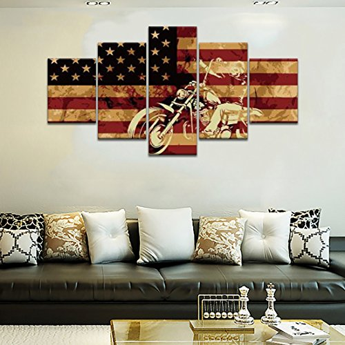 Motorcycle on American Flag Background Canvas Wall Art Painting 5 Piece Modern Posters and Prints Pictures for Living Room, Home Decor Gallery-wrapped Framed Stretched(50''W x 24''H)