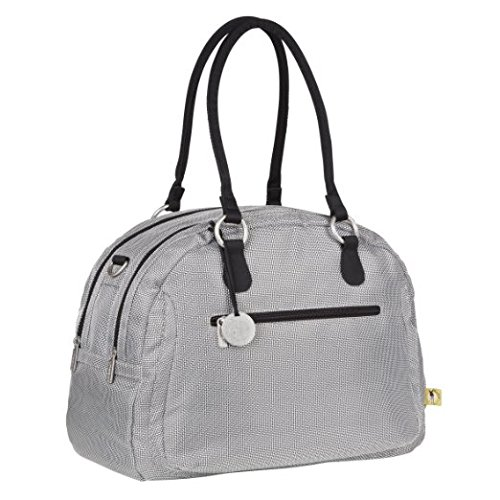 Small Handbag Bowler (Lassig Bowler Style Diaper Shoulder Bag Handbag Tote-Bag includes Matching Insulated Bottle Holder, wipeable Changing Mat, Stroller Hooks, Metallic Silver)
