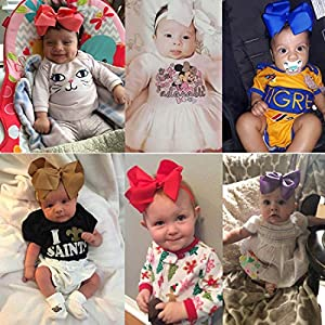 WillingTee 30 Pieces Big 6 Inch Boutique Grosgrain Ribbon Hair Bows Big Baby Girls Bows Headbands for Baby Girls Infants Toddler Kids Teens and Children (Color: 30 Colors Headbands #3)