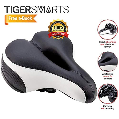 Bike Seat by TigerSmarts Replacement Padded Comfortable Bicycle Seat with Shock Absorbing Springs- Best Bike Saddle Cushion for Electric Bicycles,Mountain and Cruiser Bikes-Improves Riding Comfort by TigerSmarts (Image #5)