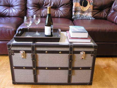 Decorative Vienna Large Wood Steamer Trunk Wooden Treasure Hope Chest