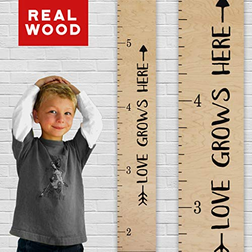 "Growth Chart Art | Wooden Height Chart Ruler Kids | Wall Growth Chart for Kids, Girls + Boys – ""Love Grows Here"" | Nursery Décor | Tribal Natural ()"