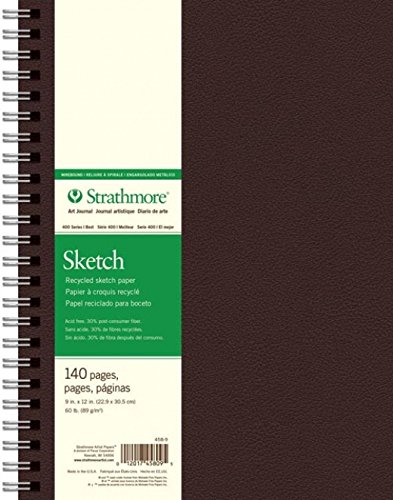 Strathmore 400 Series Recycled Art Sketch Pad, 9''x12'' Wirebound, 70 Sheets by Strathmore