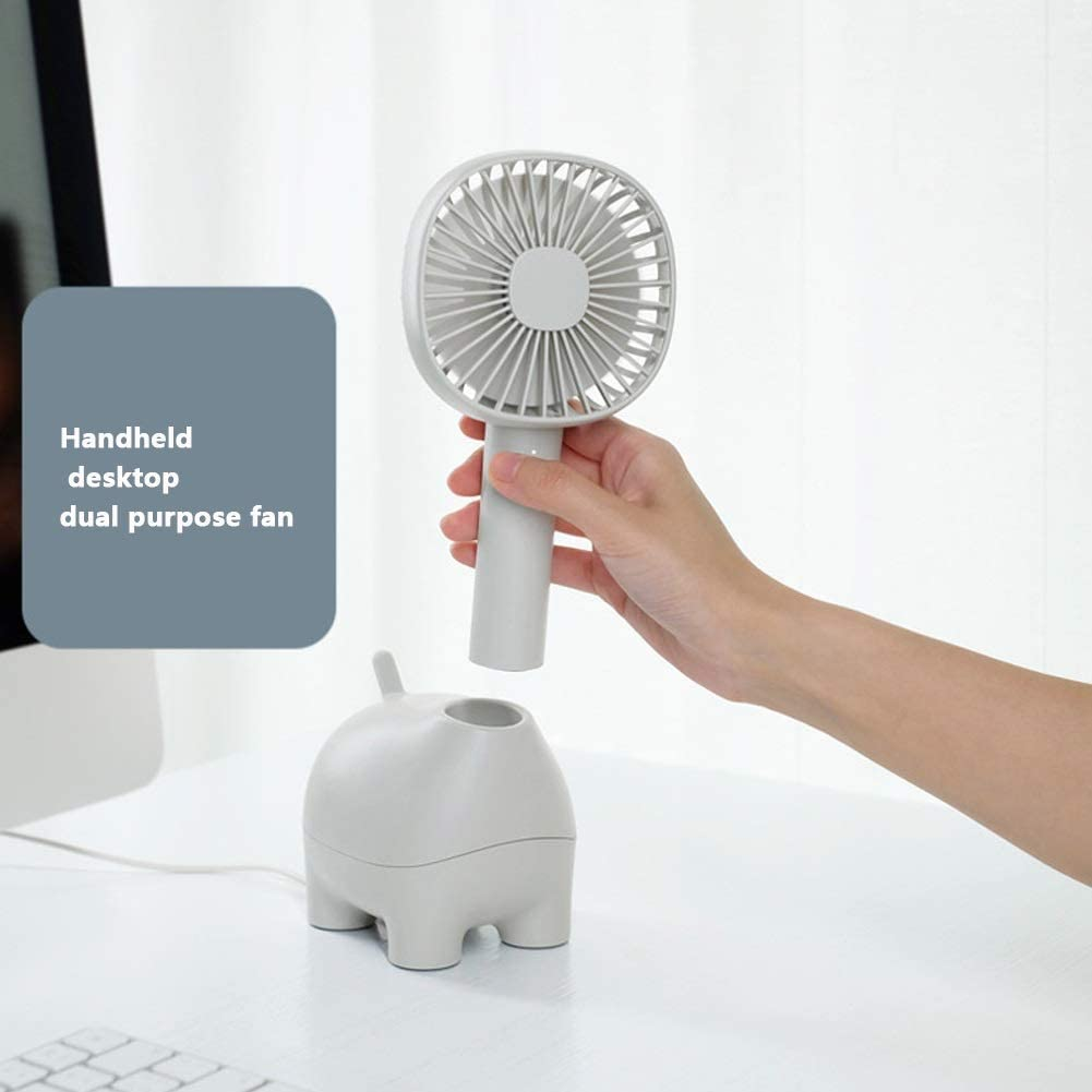 Chiheng Small Fan Cold Fan USB Mute Table Fan 3 Speed Shaking Head Handheld Portable Rechargeable Fan Mini Desktop Office Family Color : Blue