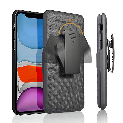 HIDAHE iPhone 11 Holster Case, iPhone 11 Case for Men, Belt Clip Holster Case, Combo Case with Kickstand Rotating Belt Clip Super Slim Shell for Apple iPhone 11 Phone 6.1'' (2019), Black