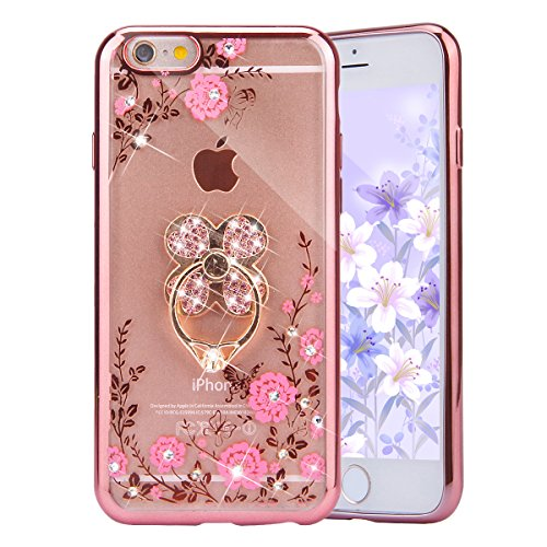 PHEZEN iPhone 6S Plus/ 6 Plus Case, Pink Flower Butterfly Bling Crystal Rhinestone Diamond Rose Gold Plating Frame Clear Back TPU Bumper Case with Clover Ring Kickstand for iPhone 6/6S Plus 5.5