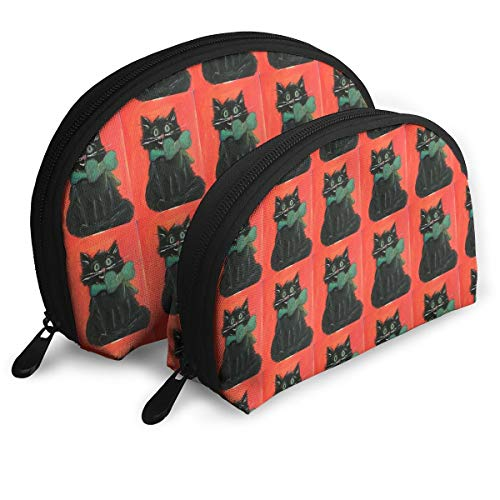 HJGeO Black Cat Halloween Kitty Small Portable Travel Cosmetic Organizer Clutch Pouch Bag with Zipper Closure]()