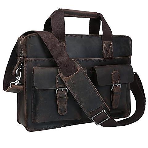 Genuine Leather Bags Classic Laptop Briefcase Attache Shoulder Handbag Messenger Bag Tote - Attache Brief