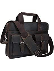 BAIGIO Men Classic Leather Laptop Briefcase Bag Shoulder Handbag Messenger Bag (Brown)