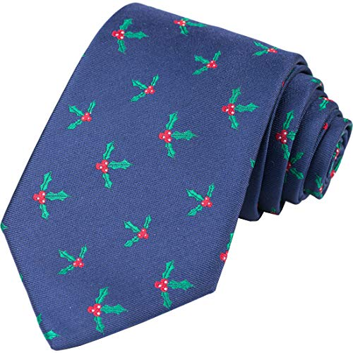 KissTies Navy Blue Tie Mistletoe Necktie Ties for Men + Gift Box