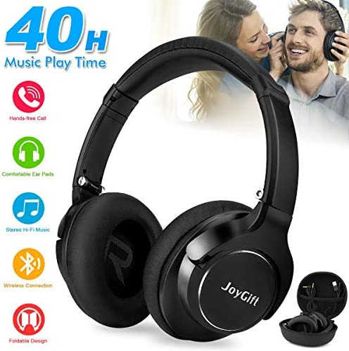 Bluetooth Headphones,Wireless Headphones Over Ear Headphones Bluetooth Headset Best Stereo Foldable Headphones with Microphone,Soft Memory Protein Earpads,40-Hour Play Time for PC Cell Phones Black