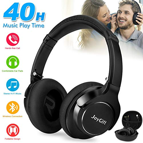 Bluetooth Headphones,Wireless Headphones Over Ear Headphones Bluetooth Headset Best Stereo Foldable Headphones with Microphone,Soft Memory Protein Earpads,40-Hour Play Time for PC/Cell Phones Black