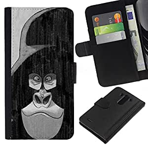 Dibujos animados de blanco Negro Personajes- la tarjeta de Crédito Slots PU Funda de cuero Monedero caso cubierta de piel Para LG G3