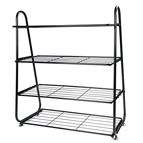 US Fast Shipment Tuscom 4-Tier Iron Mesh Utility Shoe Rack Shoes,Simple Modern Wrought Iron Shelf Storage Shoe Rack,24.8x27.96x9.84inch for Bags, Plants,Toys Storage (Black)
