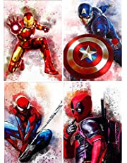 4 Pack 5D Diamond Painting for Adults by Number Kits, Full Drill Round Crystal Rhinestone Embroidery Cross Stitch Paint with Diamonds Craft Home Decor 12x16 inch (Avenger hero 30x40cm)
