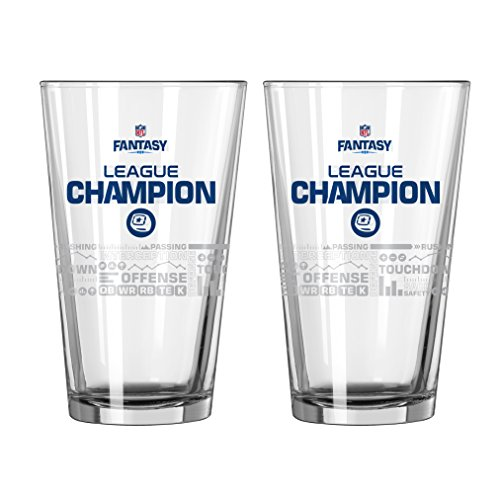 (NFL Fantasy Football Champion Satin Etch Pint, 16-ounce, 2-Pack)