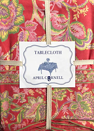 April Cornell Fabric Tablecloth Floral Pattern in Shades of Green Yellow Pink Lavender on Red - 70 Inches Round