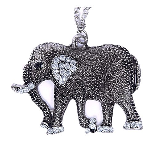 Jewelry Woman New Retro Crystal Carved Elephant Long Chain Sweater ()