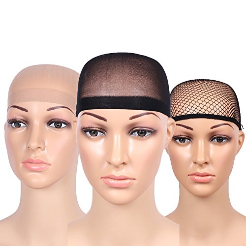 Fani 5 Pieces Nylon Wig Caps Natural Nude Beige and Black Color Stretchy Close End Wig Caps Black Mesh Open end Wig Caps by fani (Image #2)