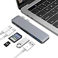 USB-C Hub, JelyTech Aluminum 6 in 1 Thunderbolt 3 Type-C Adapter for 13 and 15 MacBook Pro 2016/2017 with USB-C 100W Power Delivery, 40Gbps TB3, TF/SD Card Reader and 2 USB3.0 (Space Gray)