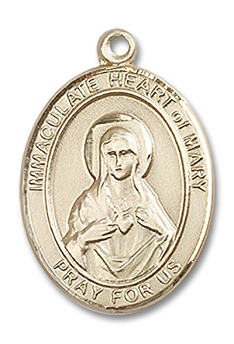 14 Karat Gold Immaculate Heart of Mary Medal Pendant, 1 Inch