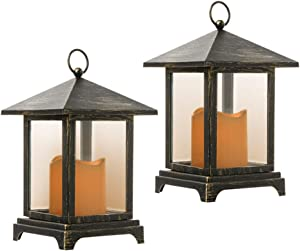 Erioscar set of 2 Decorative Candle Lantern with Timer, Decorative Lantern Using Battery(Included), Outdoor and Indoor Hanging LED Flashing warm Lights for Table, Wedding, Party, bars, patios, porches