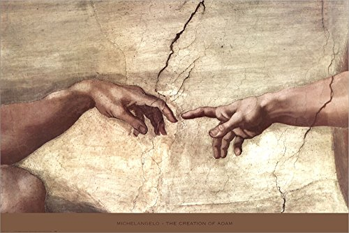 Creation of Adam (hands detail) by Michelangelo Buonarroti Double Sided Laminate, 36 x 24 inches - Michelangelo Buonarroti Creation Of Adam