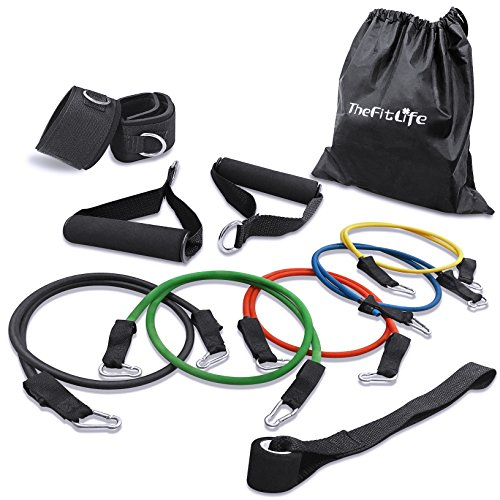 TheFitLife Exercise Workout Resistance Band Set – Training Tubes Door Anchor, Handles, Ankle Straps, Stackable up to 100 lbs Health, Power, Baseball, Softball, Home Fitness center, Yoga – DiZiSports Store
