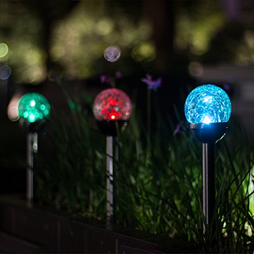 GIGALUMI Solar Lights Outdoor, Cracked Glass Ball Dual LED