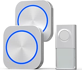 Self-Powered Wireless Doorbell, Cambond Battery-Free Doorbell Waterproof Push Button and 2 Plug-in Receivers with LED Light 500ft Range 58 Ringtones 4 Volume Levels Home Doorbell, Silver