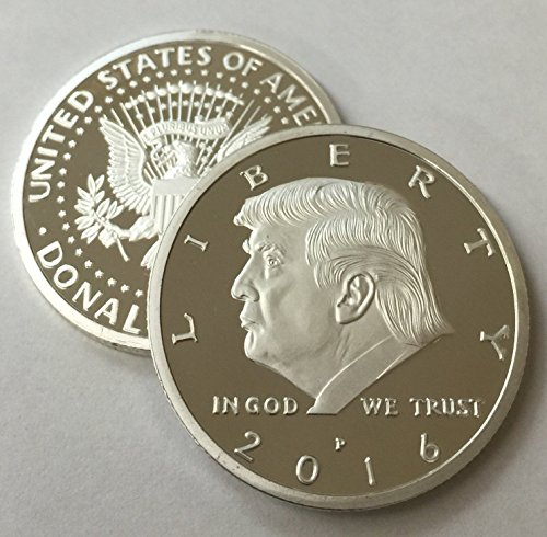 Price comparison product image Aizics Mint President Donald Trump 2016 Silver Plated Eagle Novelty 30mm Coin