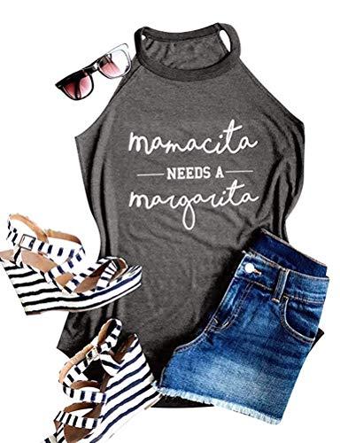 Women Mamacita Needs A Margarita Tank Top Funny Round Neck Sleeveless Tshirt Vest Tee (L, Grey)