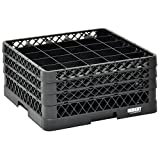 Vollrath Traex Black Plastic 25 Compartment Dishwashing Rack With Three Open Extenders - 19 3/4 L x 19 3/4 W x 8 3/4 H