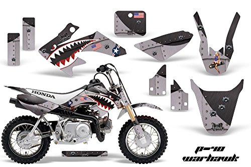 AMR Racing MX Dirt Bike Graphic Kit Sticker Decals Compatible with Honda CRF50 2004-2013 - Warhawk Black - Mx Bike Graphics