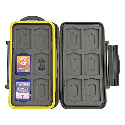 JJC MC-SDMSD24 Water-Resistant Holder Storage Memory Card Case & 12 Micro SD Cards (Black)