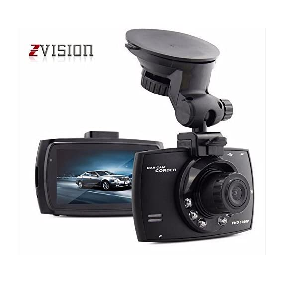 """ZVision Full HD 1080P Car DVR with Memory Card Slot Recording and 2.7"""" LCD Screen Night Vision Camcorder"""