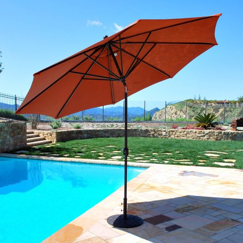 Galtech International 789BK50 Deluxe Auto Tilt - 11' Round Umbrella, Choose Fabric Color: 50: Black, Choose Pole Finish: BK: Black ()
