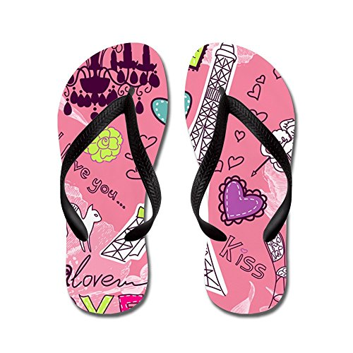 CafePress Love In Paris - Flip Flops, Funny Thong Sandals, Beach Sandals Black