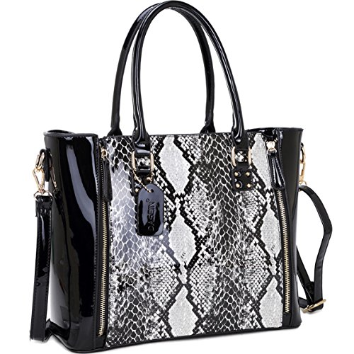 Snakeskin Print Tote - Dasein Women's Fashion Snake Print Top Zip Work Tote Satchel Handbags Shoulder Bag Purse 1 Snakeskin Print Black