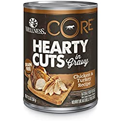 Wellness CORE Hearty Cuts Natural Wet Grain Free Canned Dog Food, Chicken & Turkey, 12.5-Ounce Can (Pack of 12)