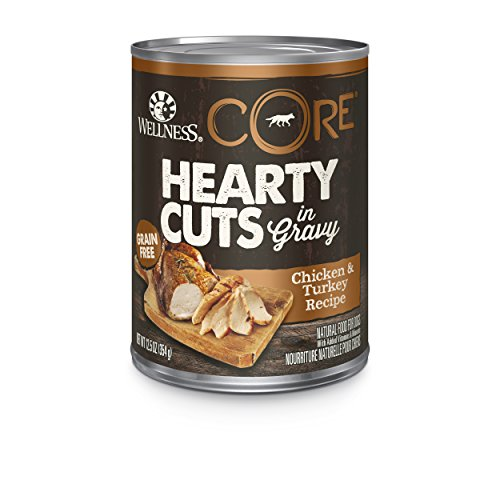 Cheap Wellness CORE Hearty Cuts Natural Wet Grain Free Canned Dog Food, Chicken & Turkey, 12.5-Ounce Can (Pack of 12)