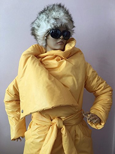 Womens square down coat/ Womens winter jacket/ Puffer atmosphere down overcoat yellow / Quilted down coat by StudioMariya