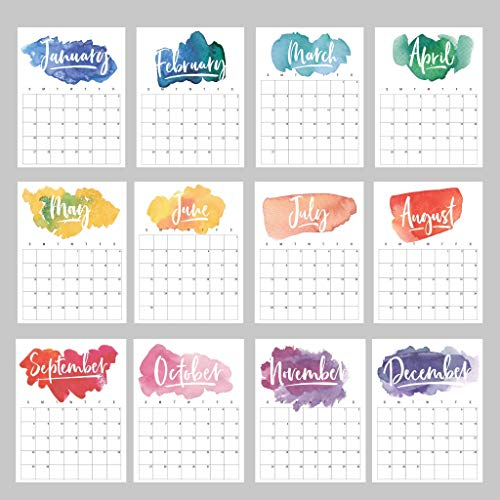Wall Calendar (Choose 2019 or 2020) Rainbow Watercolor Monthly Planner (16 Sheets) Loose Sheets | Wall Prints Posters Goal Sheet Year At A Glance Birthday Chart | Modern Colorful Yearly - Print Calendar Rainbow