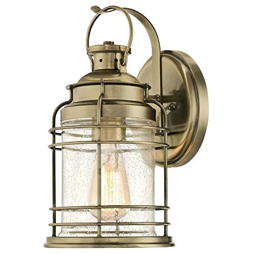 Westinghouse 6335200 Kellen One-Light Outdoor Wall Fixture, Antique Brass Finish with Clear Seeded Glass by Westinghouse